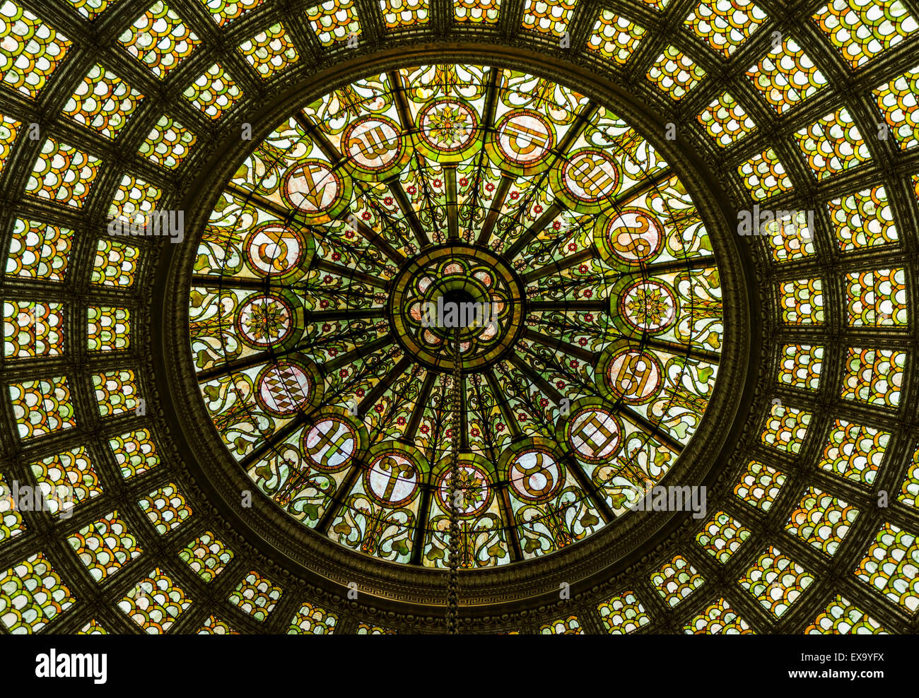 detail of domed skylight, Chicago Cultural Center, formerly the Chicago Public Library, Chicago, Illinois, USA - Stock Image