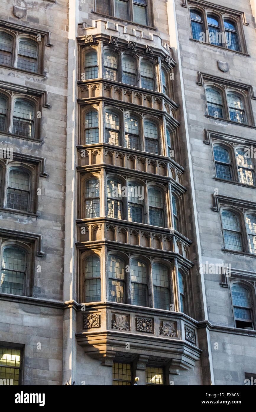 detail of facade, University Club of Chicago, MIchigan Avenue, Chicago, Illinois, USA - Stock Image