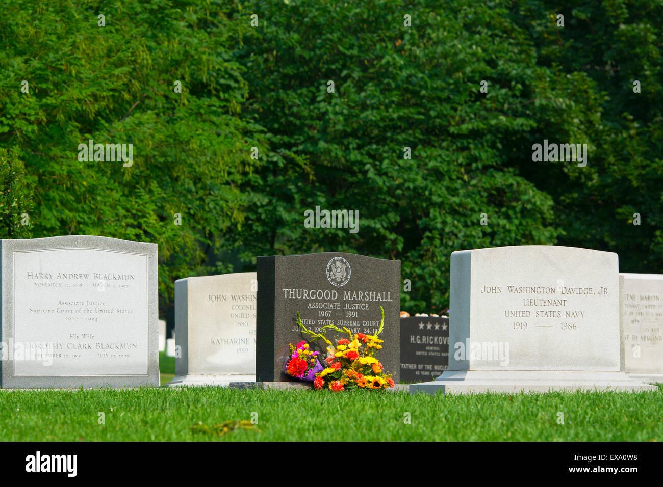 Arlington Cemetery, Grave Stones, Thurgood Marshall, Washington DC - Stock Image