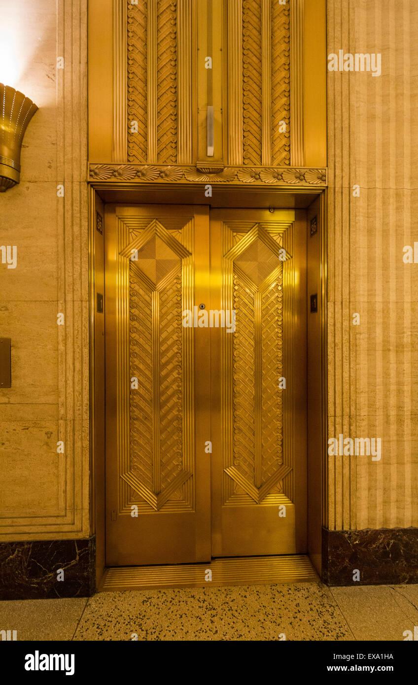 Elevator Doors, Lobby Of The Merchandise Mart, Chicago, Illinois, USA