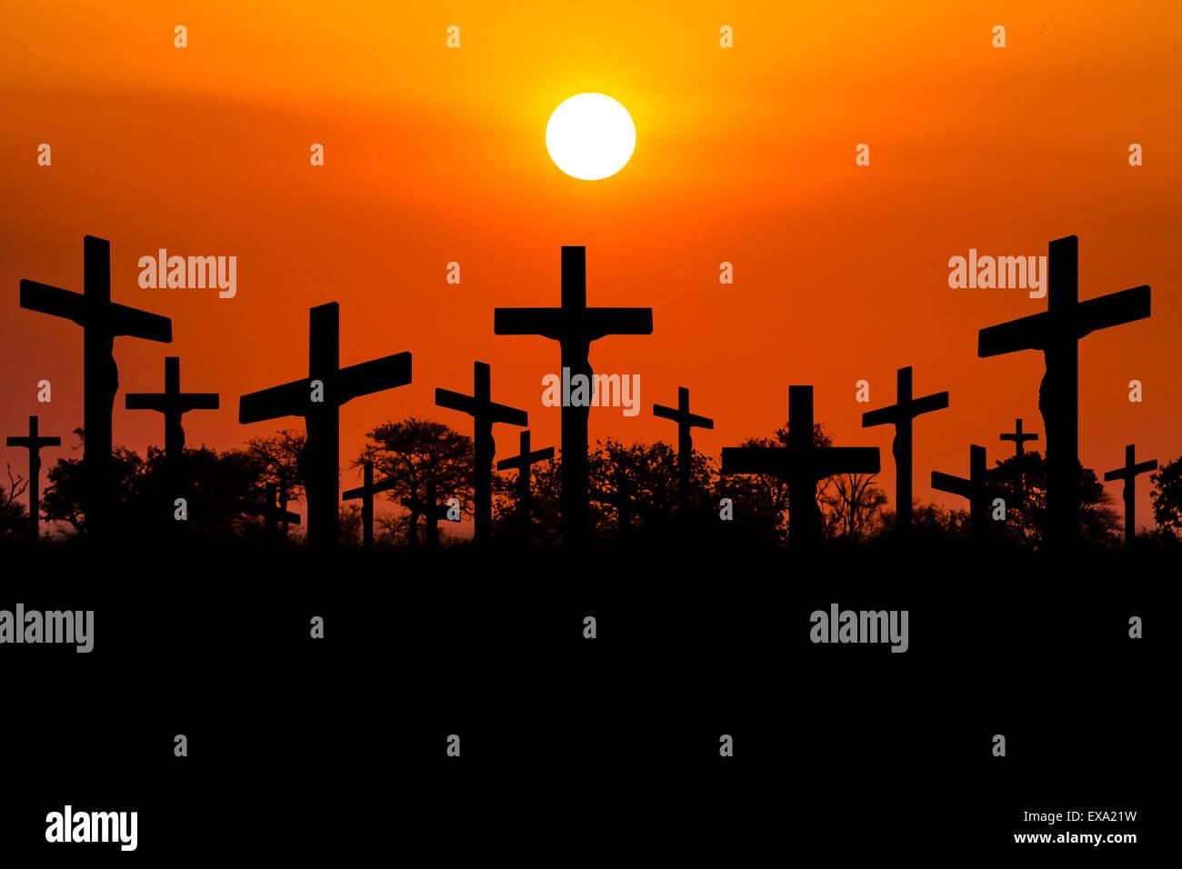 Sunset Crucifixion - Stock Image
