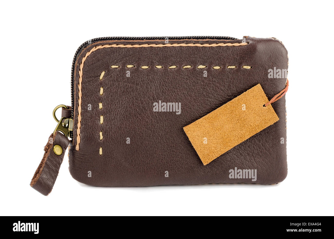 Leather wallet on White background. - Stock Image
