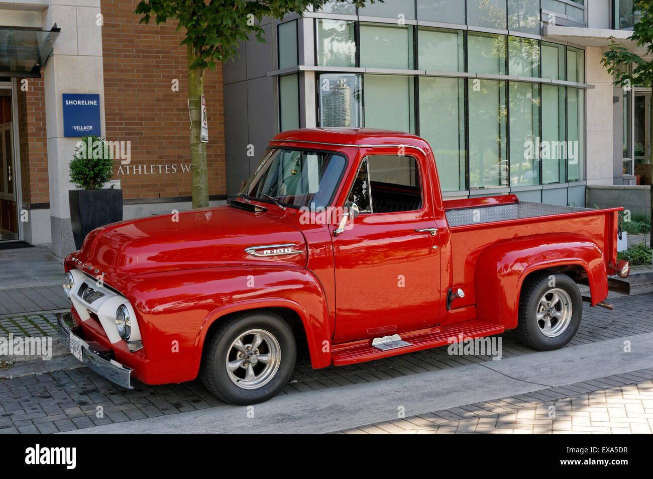 Vintage Red Ford Pickup Truck Stock Photos 1955 F100 Running Boards Restored 1950s Mercury M150 Image