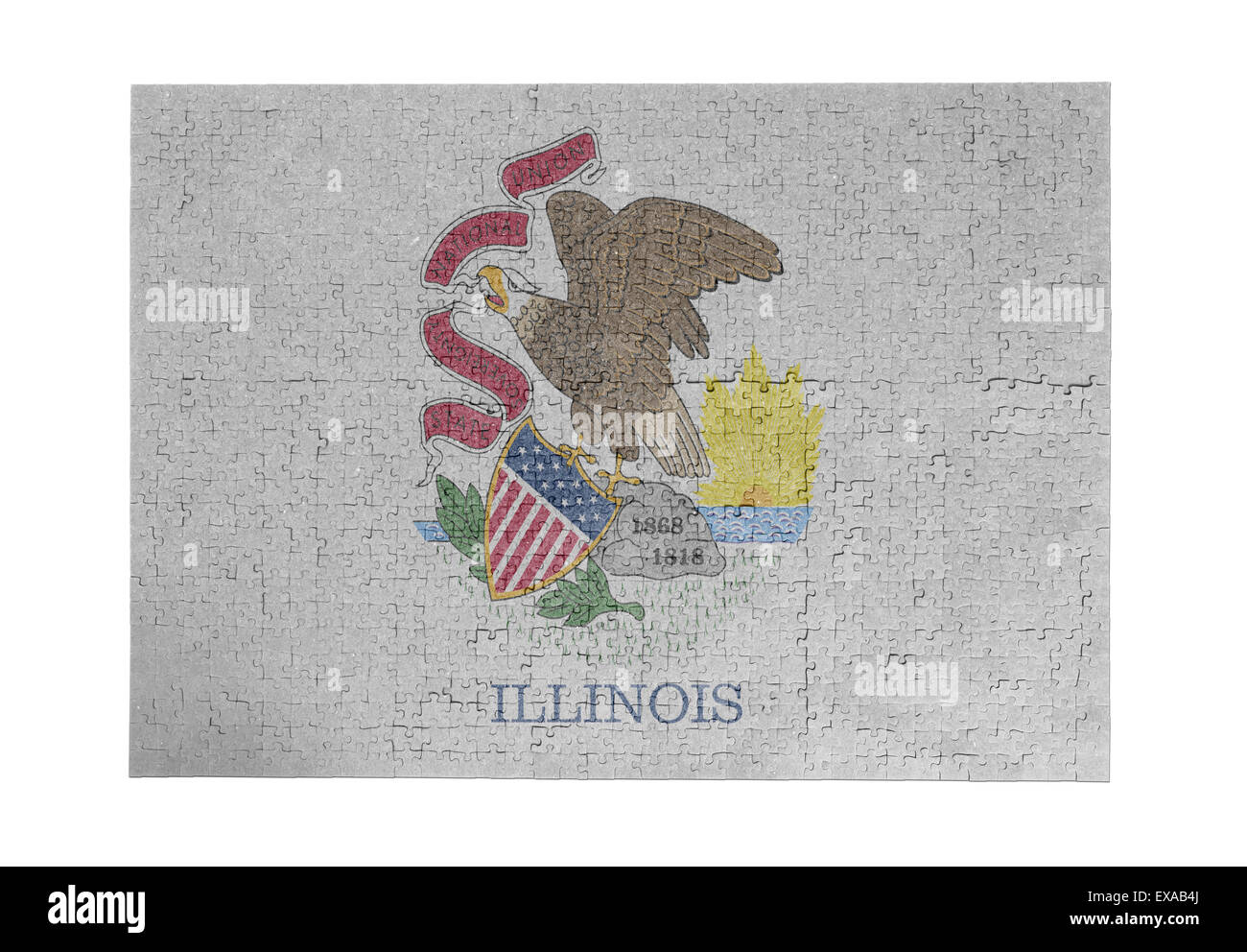 Large jigsaw puzzle of 1000 pieces - flag - Illinois - Stock Image