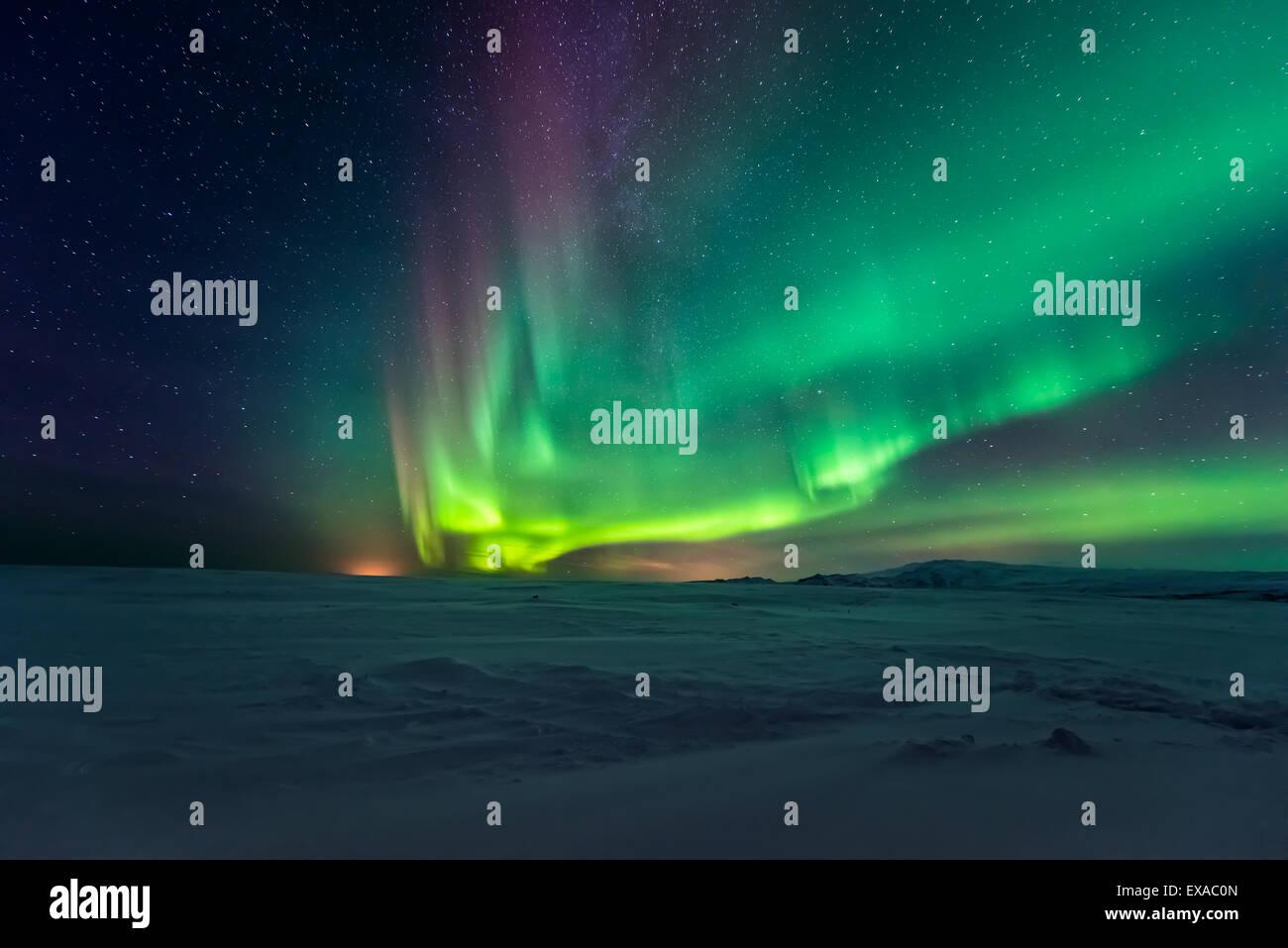 Aurora borealis, northern lights - Stock Image