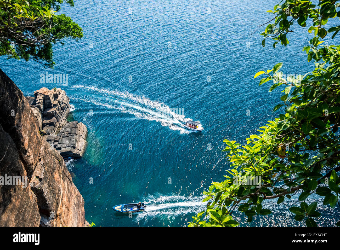 hale and dolphin watching boats in the beautiful ocean - Stock Image