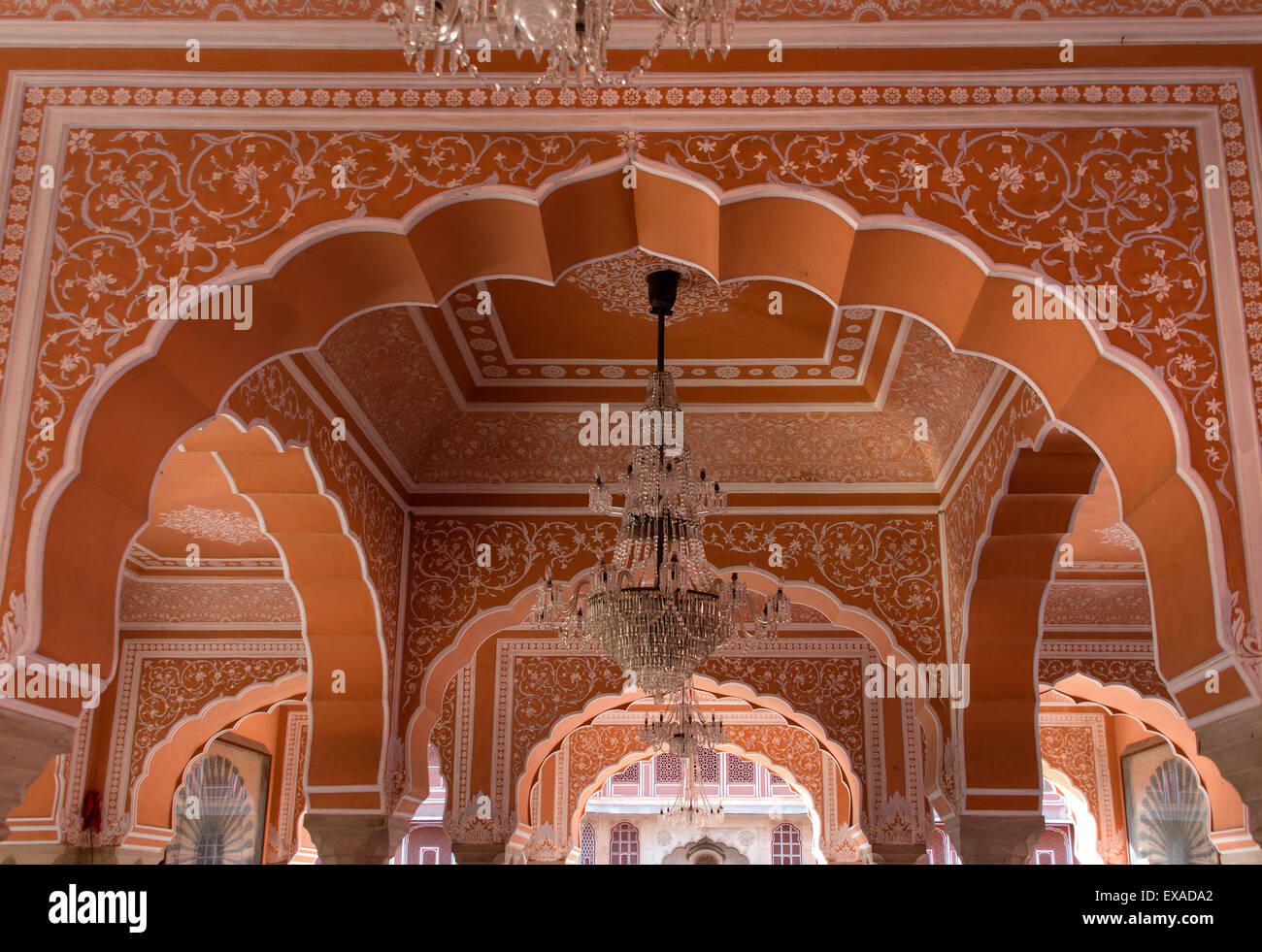Audience hall Diwan-I-Khas in Chandra Mahal City Palace, Jaipur, Rajasthan, India - Stock Image