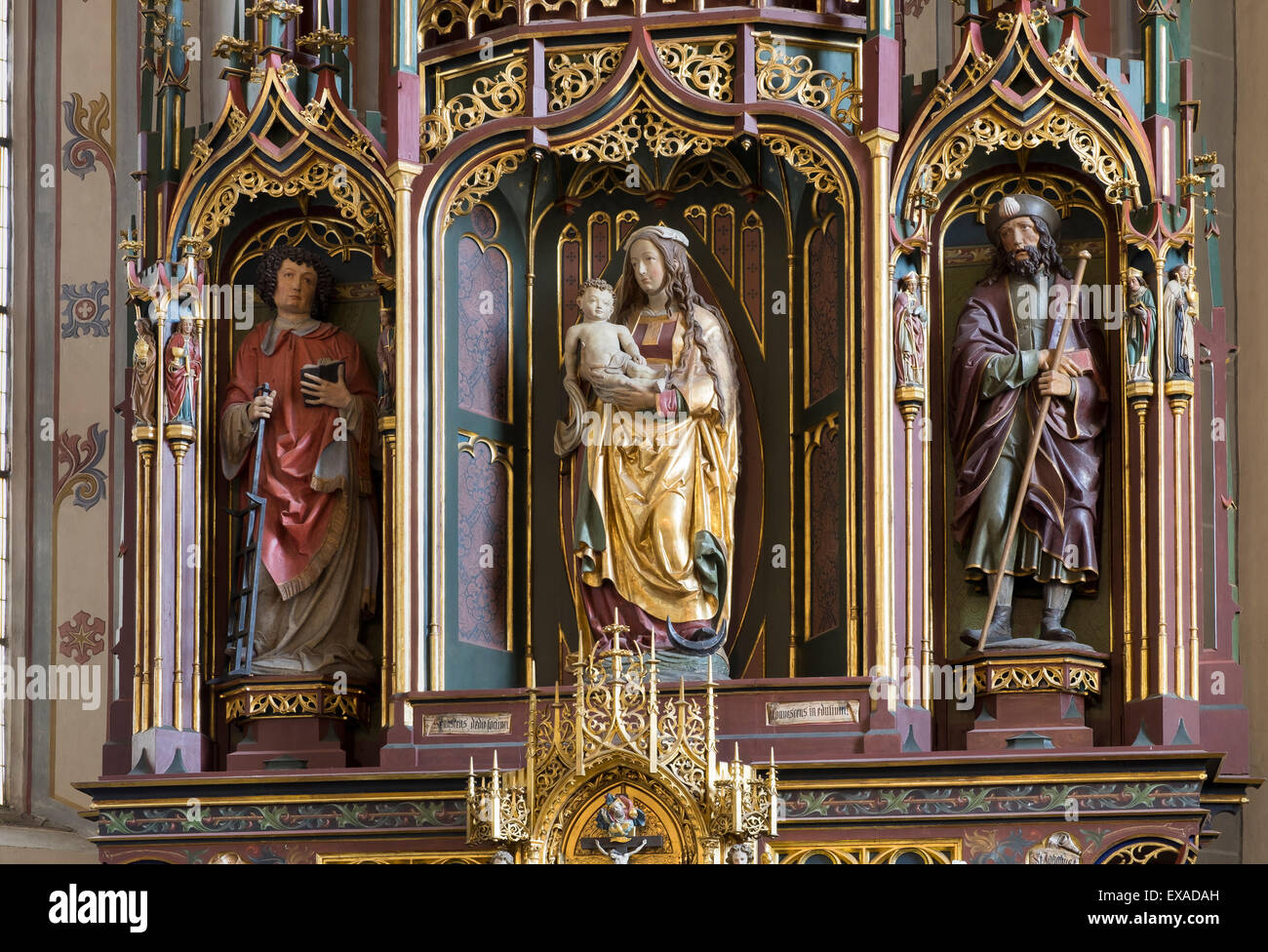 Madonna with Child, St. Lawrence and St. James, carved figures of the Master of Rabenden, parish church of St. Laurentius, - Stock Image
