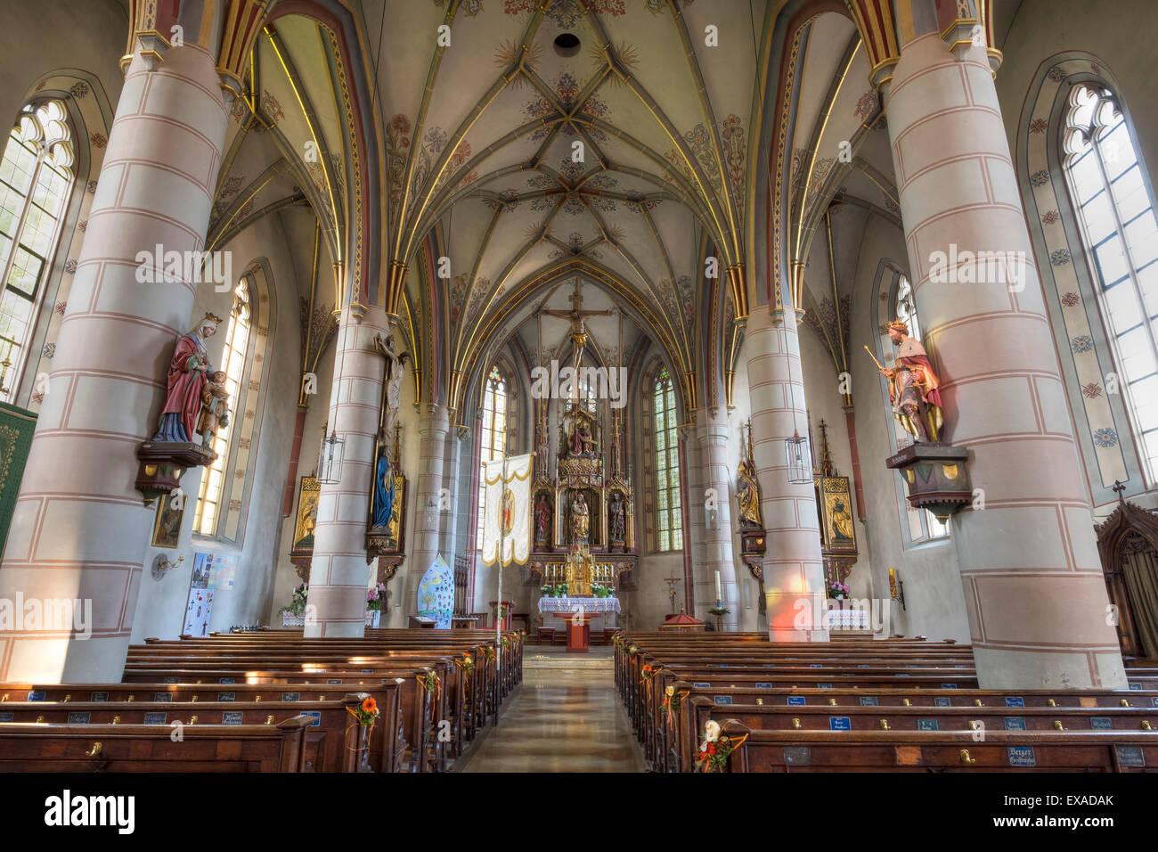 Parish Church of St. Lawrence, Obing, Chiemgau, Upper Bavaria, Bavaria, Germany - Stock Image