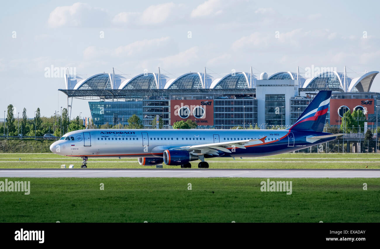 Aeroflot Airbus A321-211, registration number VQ-BED, taxying at Munich Airport, Munich, Upper Bavaria, Bavaria, - Stock Image