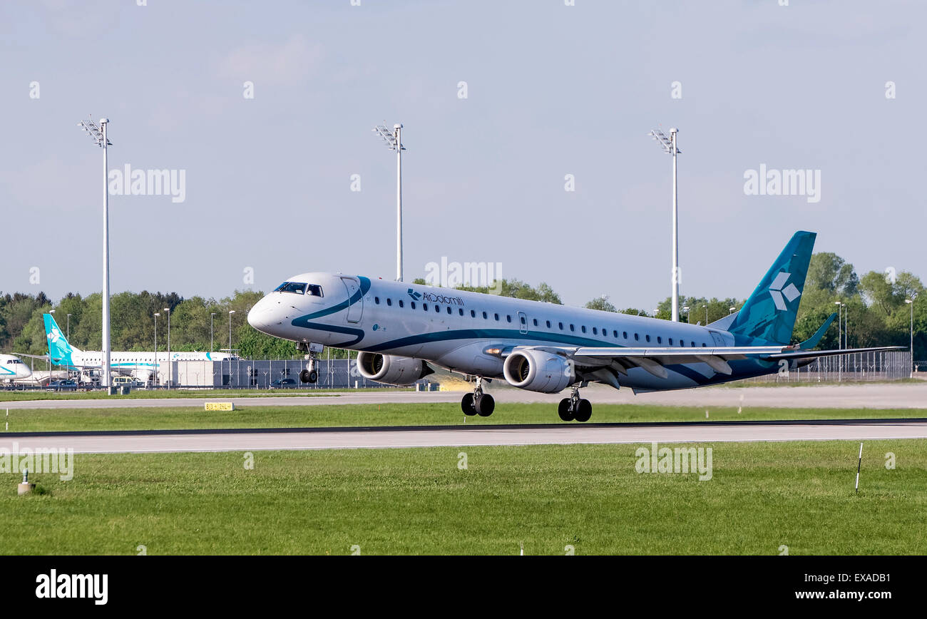 Air Dolomiti Embraer ERJ-195-200LR, registration number I-ADJK, landing at Munich Airport, Munich, Upper Bavaria, - Stock Image