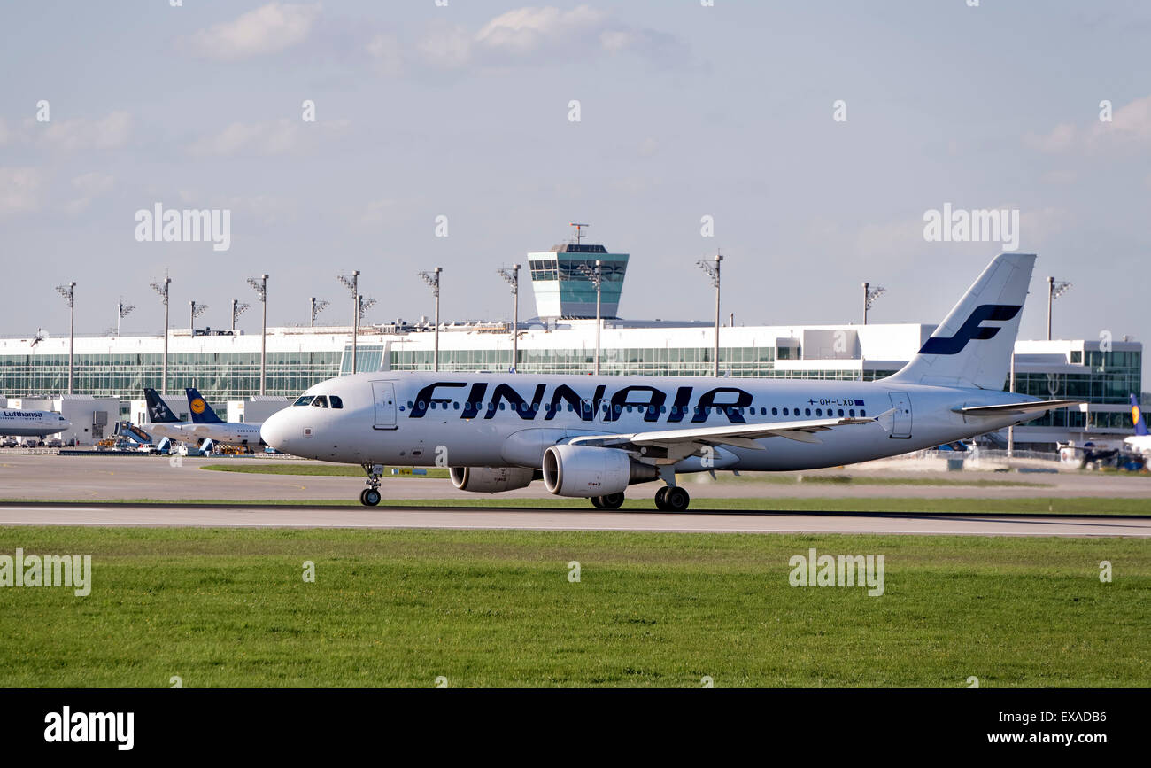 Finnair Airbus A320-214, registration number OH-LXD, taxying at Munich Airport, Munich, Upper Bavaria, Bavaria, - Stock Image