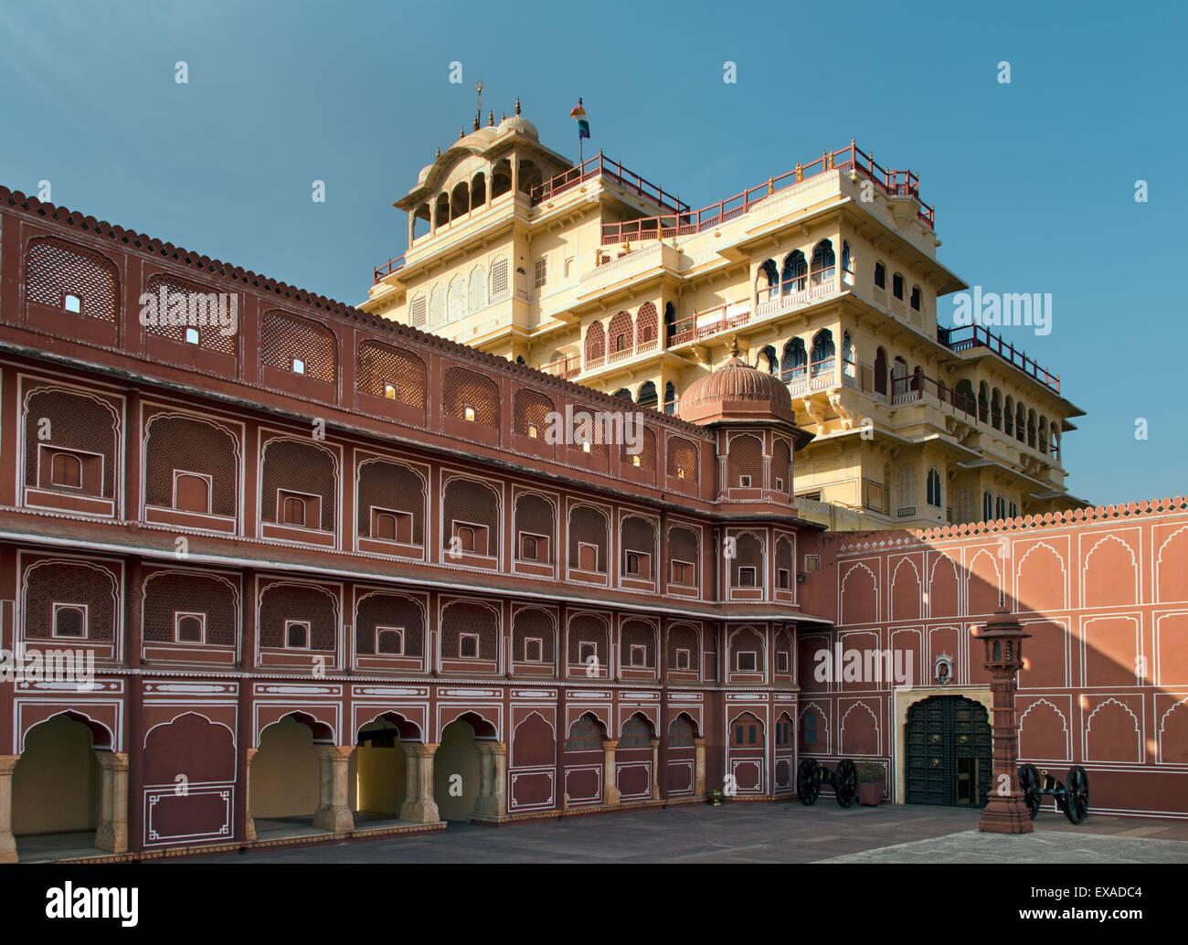 Chandra Mahal, City Palace of Jai Singh II., Pink City, Jaipur, Rajasthan, India - Stock Image