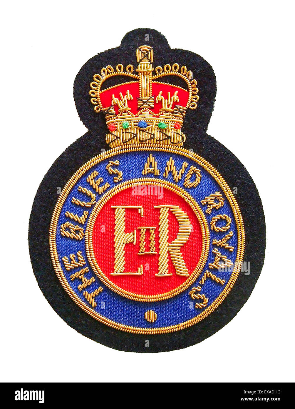 The Blues and Royals (Royal Horse Guards and 1st Dragoons)  Household Cavalry wire embroidered blazer badge on felt - Stock Image