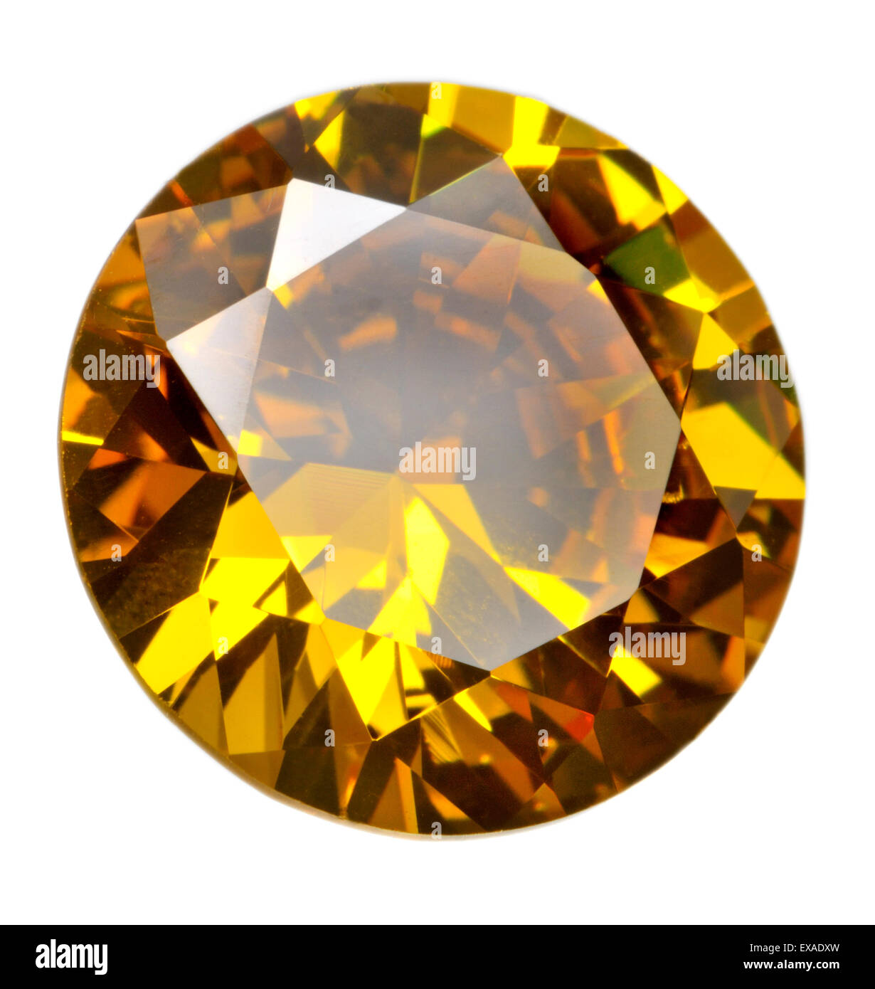 Round cut citrine gemstone (synthetic / lab-created) - Stock Image