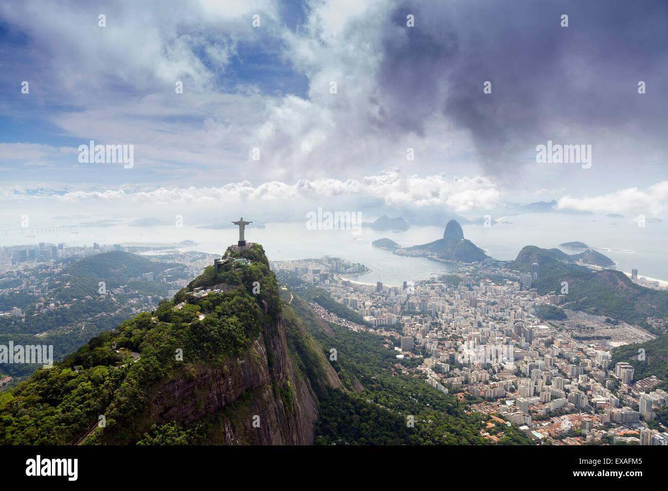 Rio de Janeiro landscape showing Corcovado, the Christ and the Sugar Loaf, UNESCO Site, Rio de Janeiro, Brazil, - Stock Image