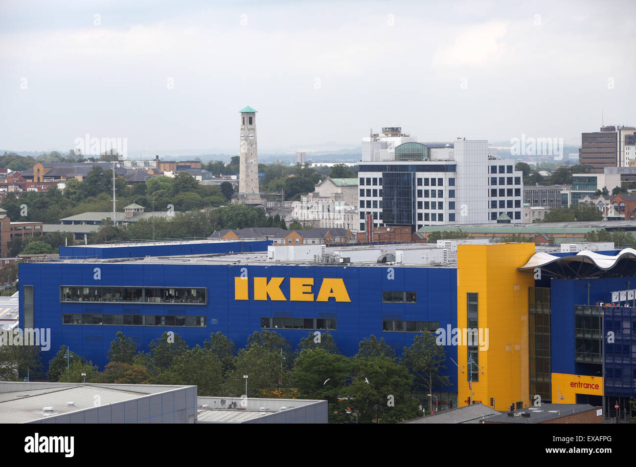 Ikea store in Southampton with a view of the city behind - Stock Image