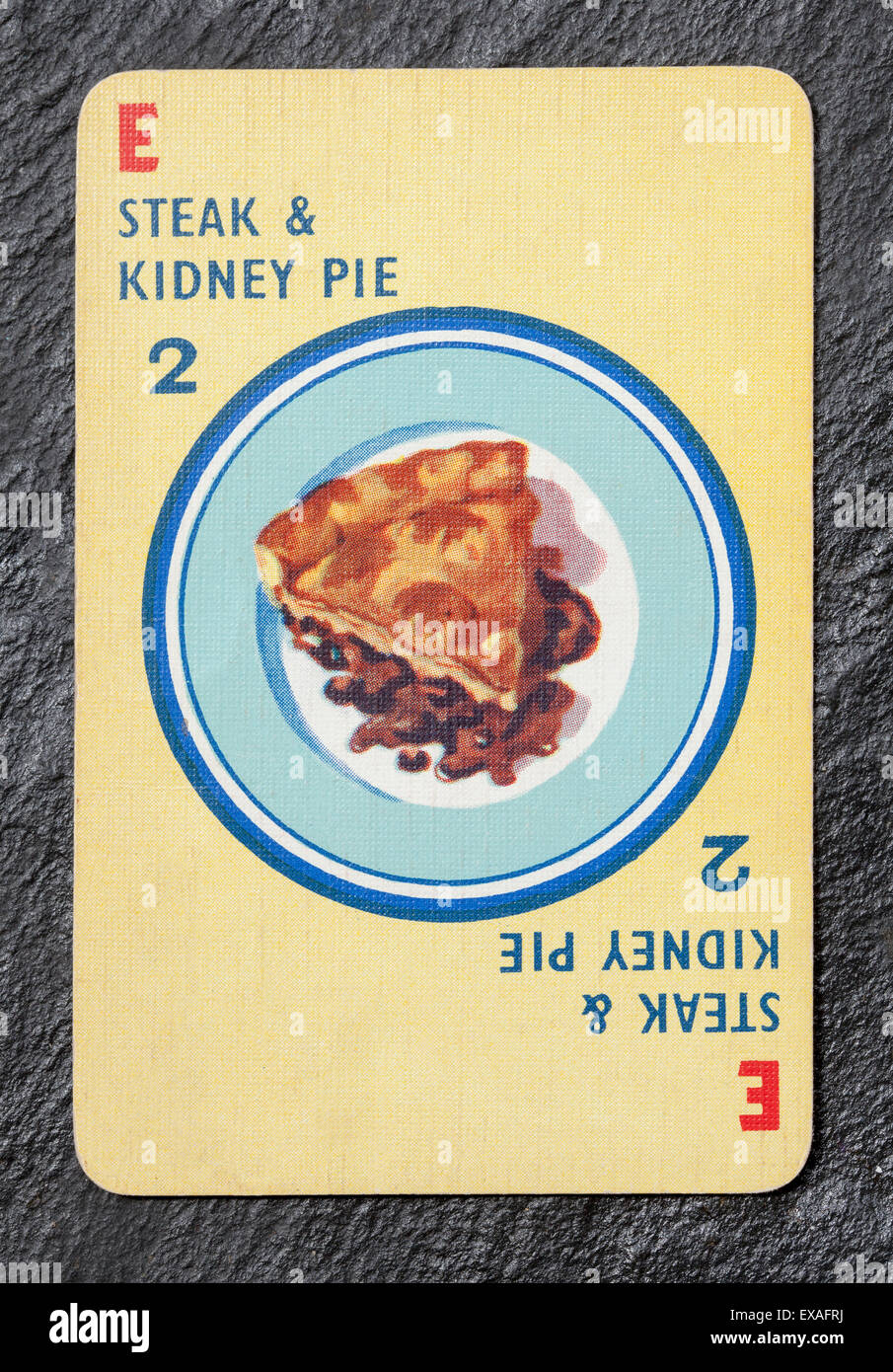 Vintage Menuette Playing Card Steak and Kidney Pie - Stock Image