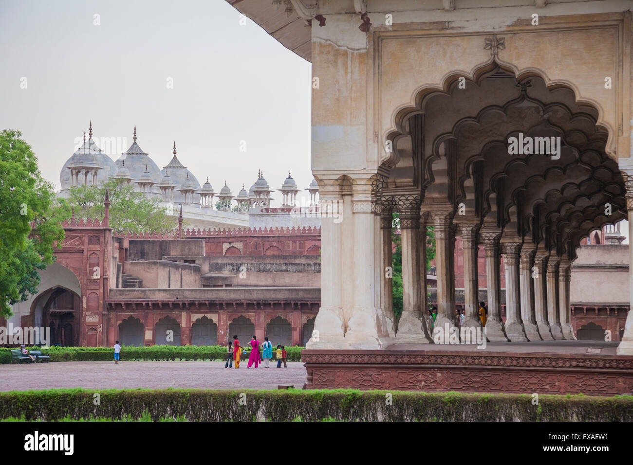 View of the courtyard of the Taj Mahal, a remarkable sight of Muslim architecture, UNESCO, Agra, Uttar Pradesh, - Stock Image