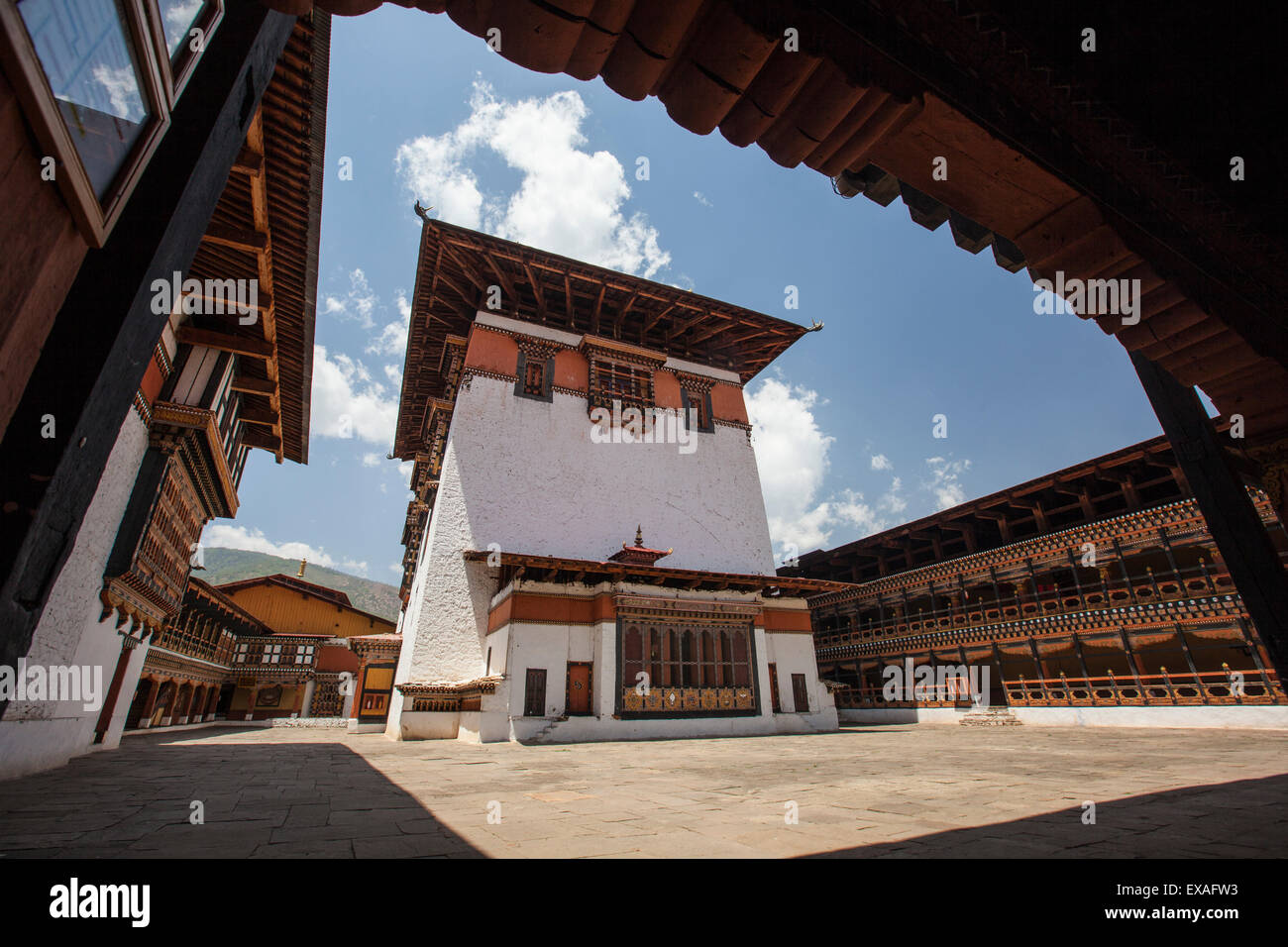 View of the interior courtyard at the Taktsang Monastery, one of the most famous Buddhist temples in Bhutan, Paro, - Stock Image