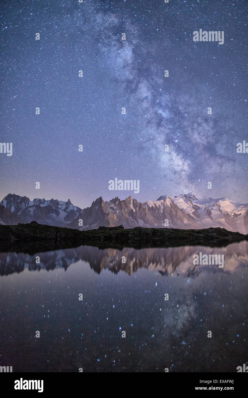 A sharp Milky Way on a starry night at Lac des Cheserys with Mont Blanc's highest peak, Haute Savoie, French - Stock Image