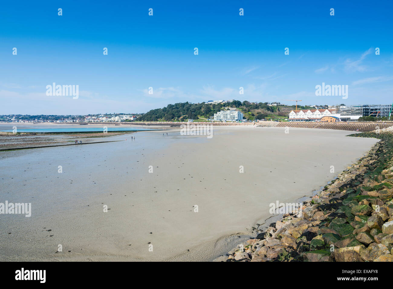 View over the bay of St. Helier, Jersey, Channel Islands, United Kingdom, Europe - Stock Image