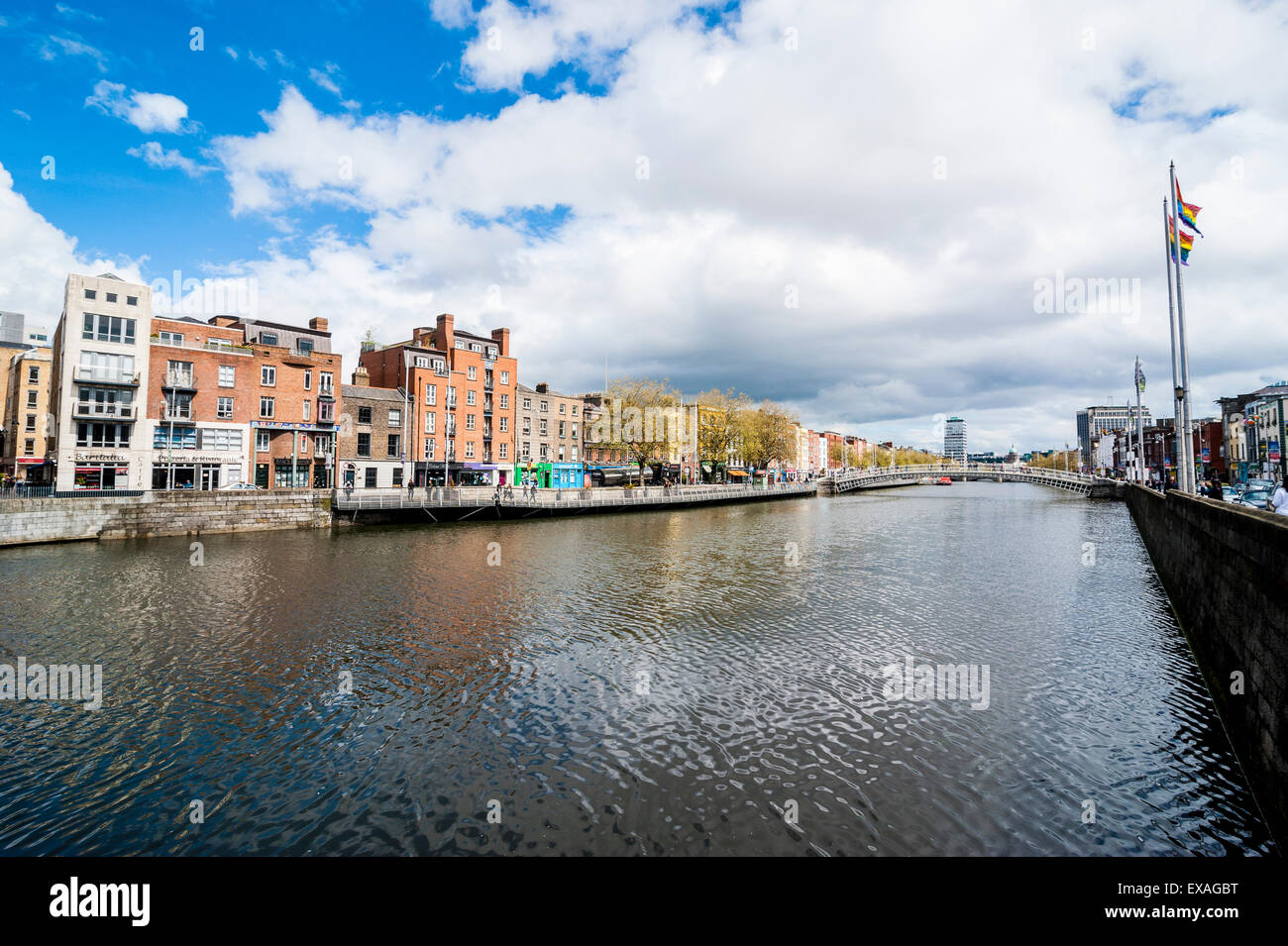 River Liffey flowing through Dublin, Republic of Ireland, Europe - Stock Image