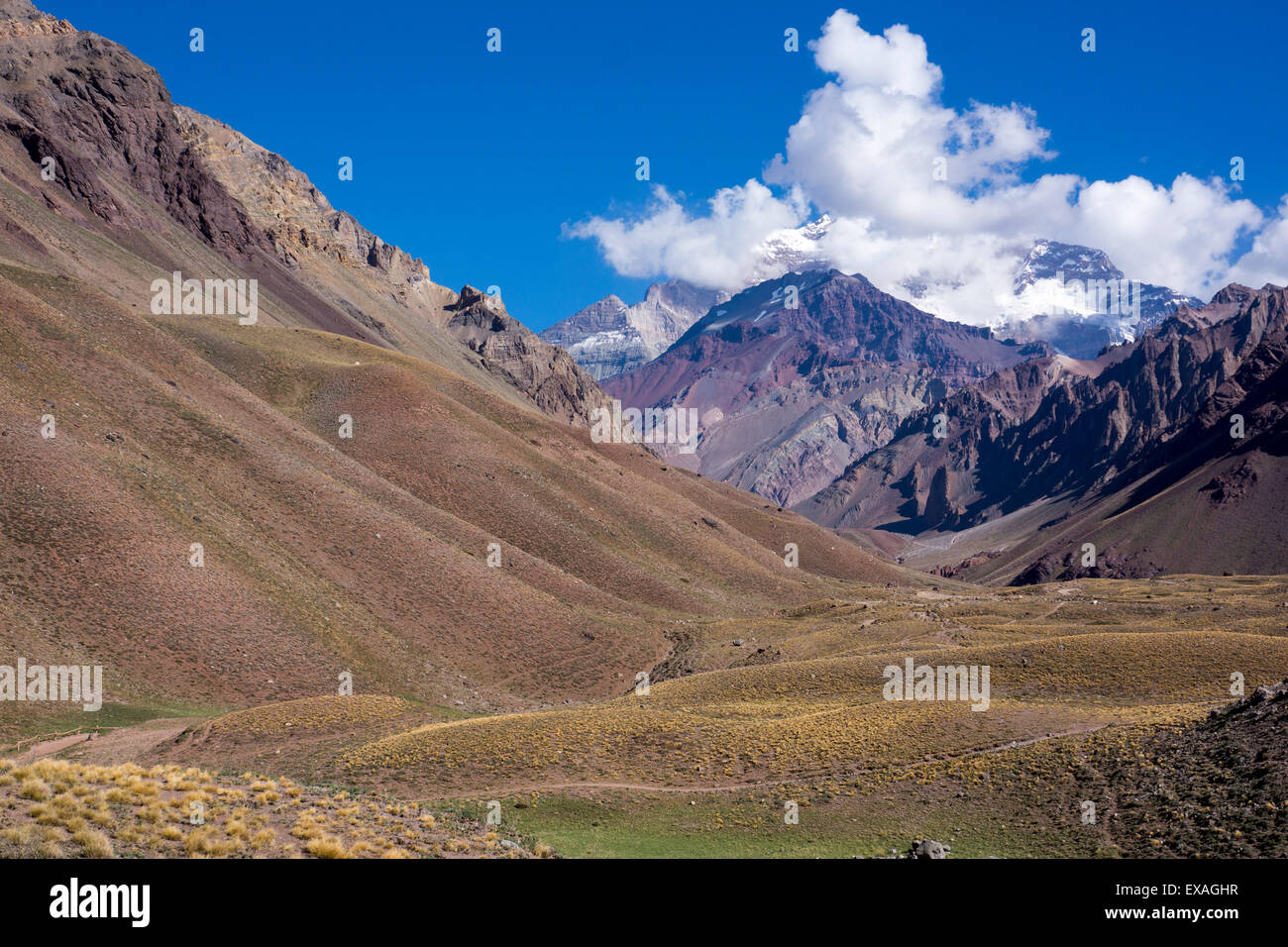 Aconcagua Park, highest mountain in South America, Argentina, South America - Stock Image