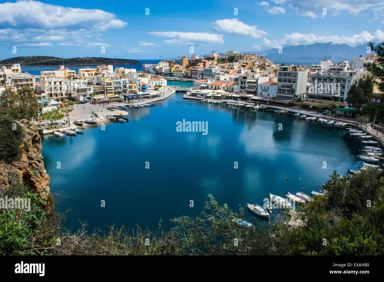 View over Lake Voulismeni, Agios Nikolaos, Crete, Greek Islands, Greece, Europe - Stock Image
