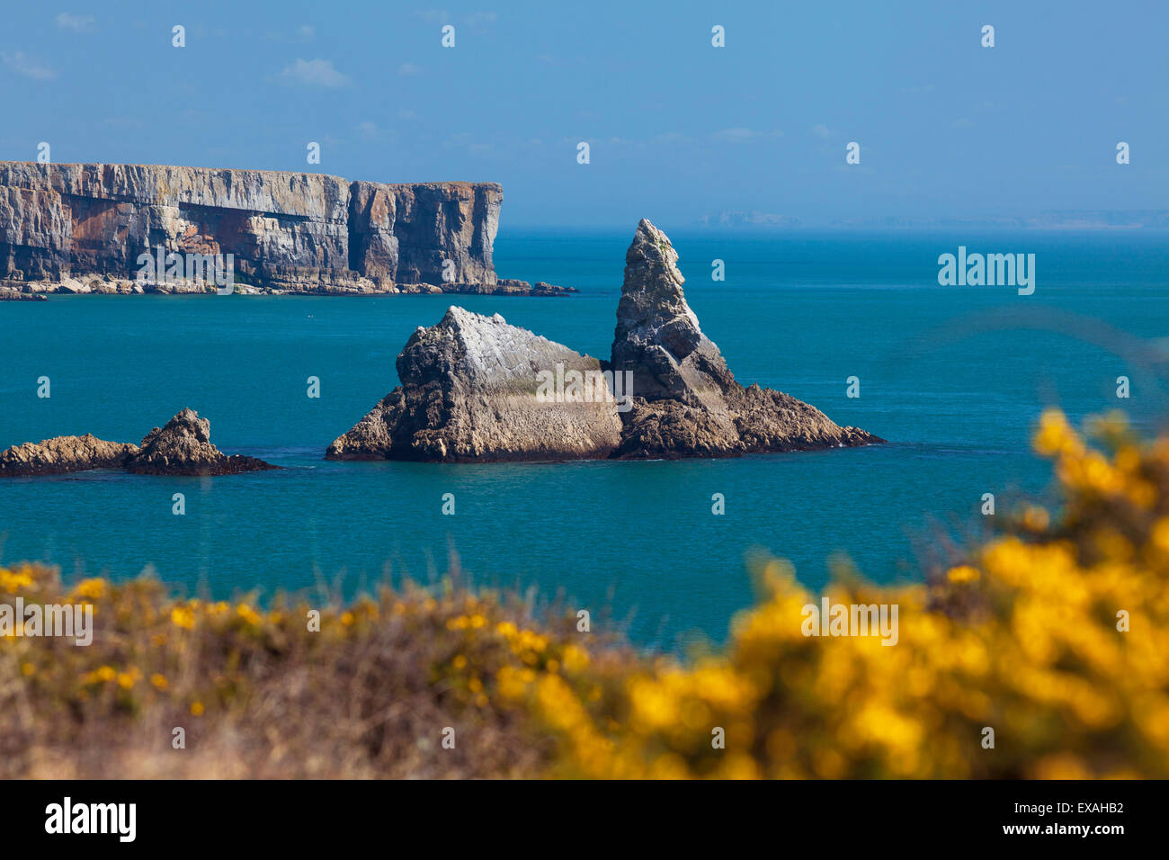 Church Rock, Broad Haven Beach, Pembrokeshire, West Wales, Wales, United Kingdom, Europe - Stock Image