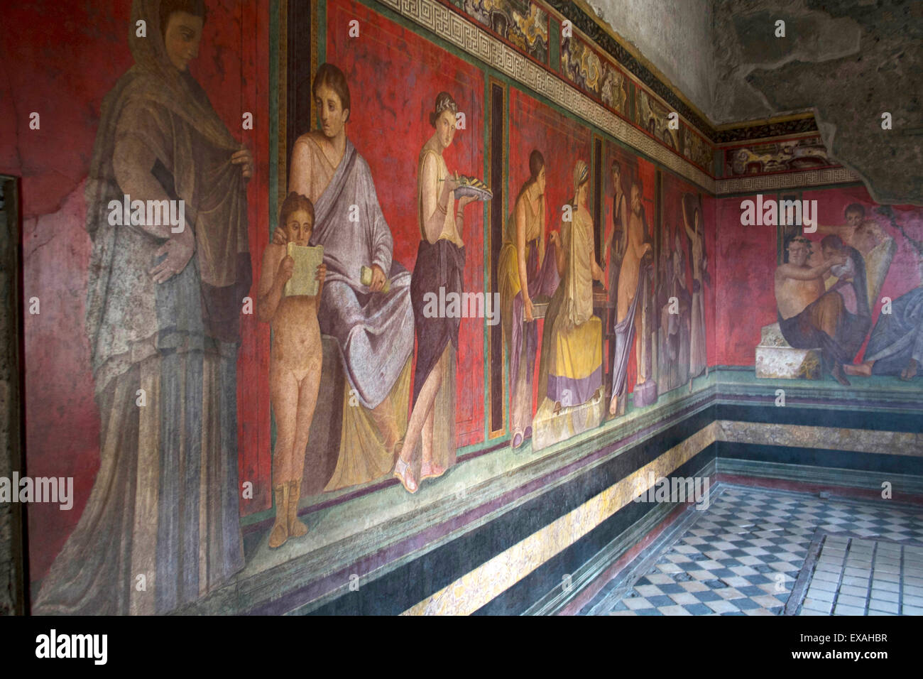 In the Triclinium, Villa dei Misteri, Pompeii, UNESCO World Heritage Site, Campania, Italy, Europe - Stock Image
