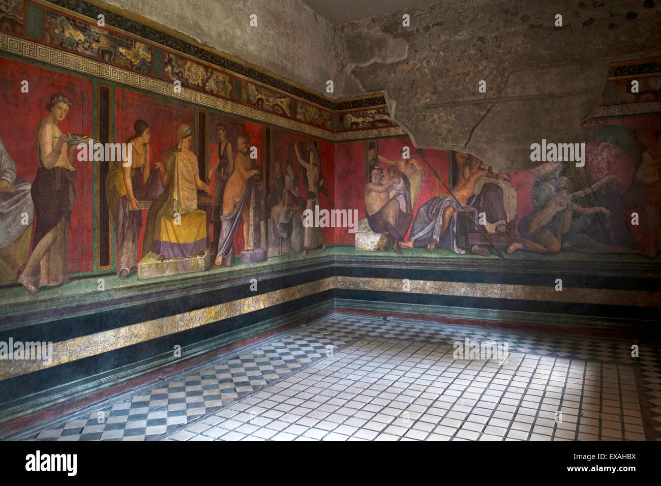 Triclinium frescoes, Villa dei Misteri, Pompeii, UNESCO World Heritage Site, Campania, Italy, Europe - Stock Image