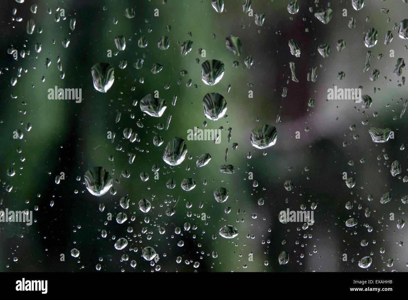 Rain drops on window glass - Stock Image