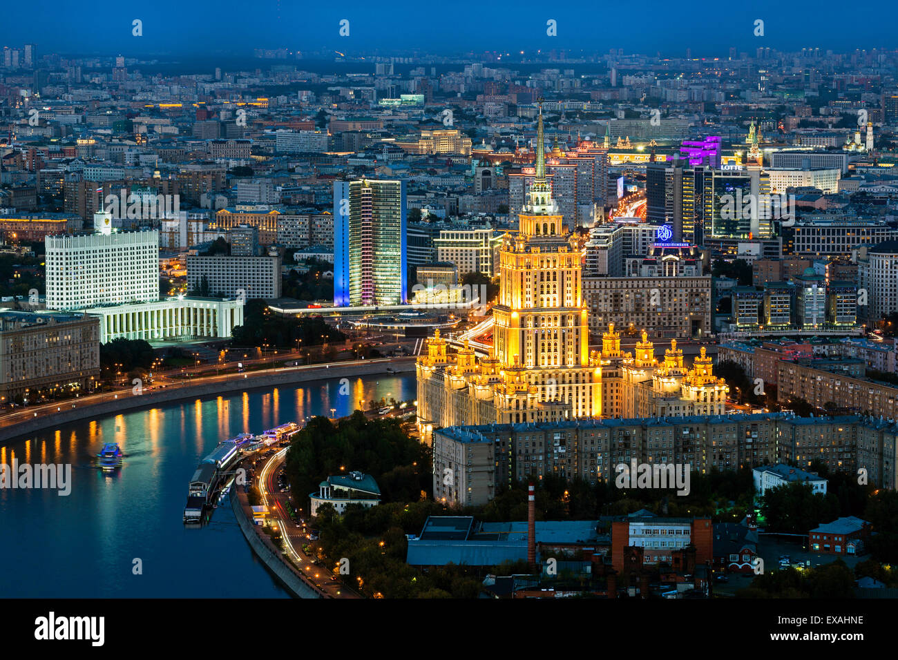 Elevated view over the Moskva River embankment, Ukraine Hotel and the Russian White House, Moscow, Russia, Europe - Stock Image