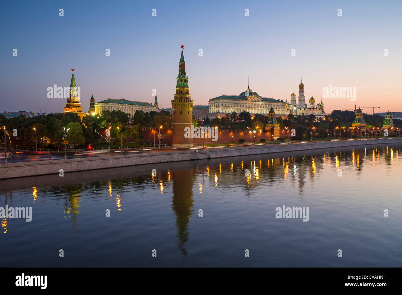 Kremlin churches and towers from Moscow River Bridge, Moscow, Russia, Europe - Stock Image