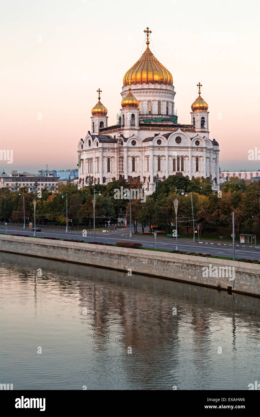 Cathedral of Christ the Saviour and Moskva River, Moscow, Russia, Europe Stock Photo