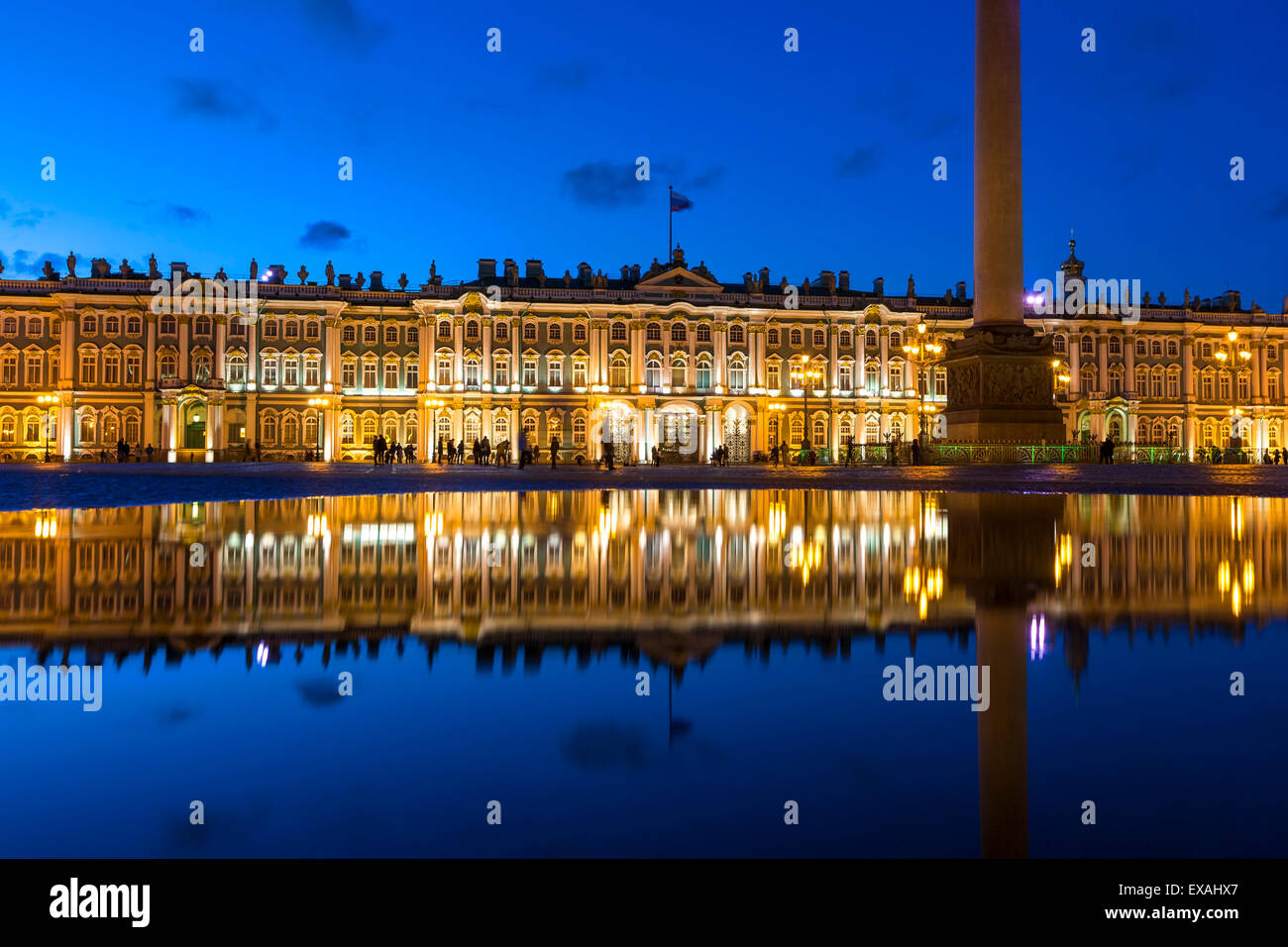 Alexander Column and the Hermitage, Winter Palace, Palace Square, UNESCO World Heritage Site, St. Petersburg, Russia, - Stock Image