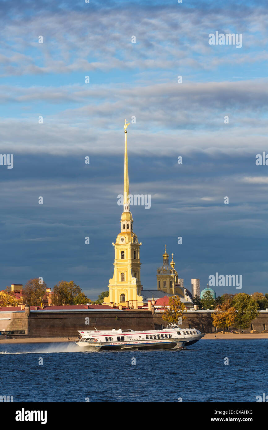 Peter and Paul Fortress on Neva riverside, UNESCO World Heritage Site, St. Petersburg, Russia, Europe - Stock Image