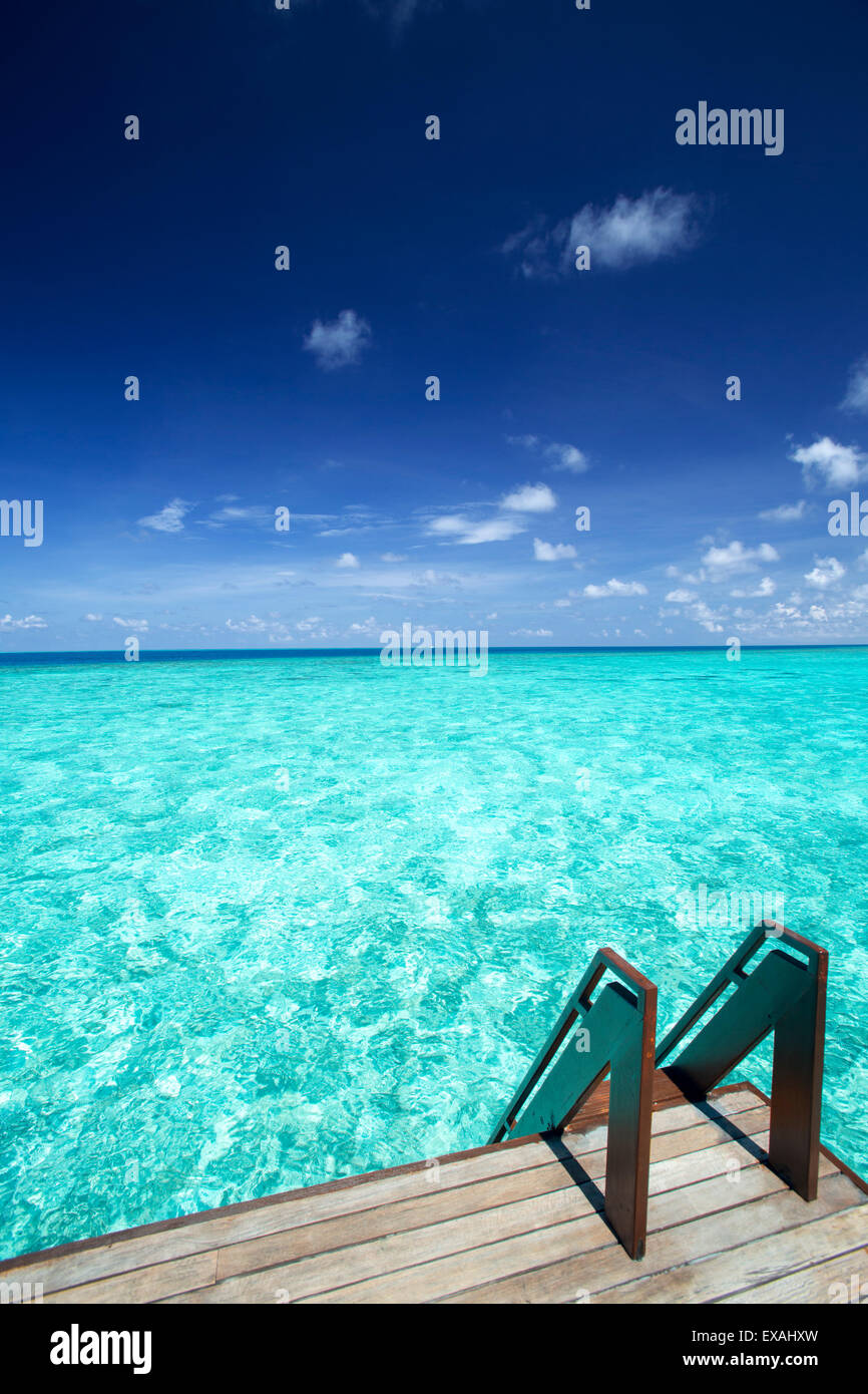 Stairs to the ocean , Maldives, Indian Ocean, Asia - Stock Image