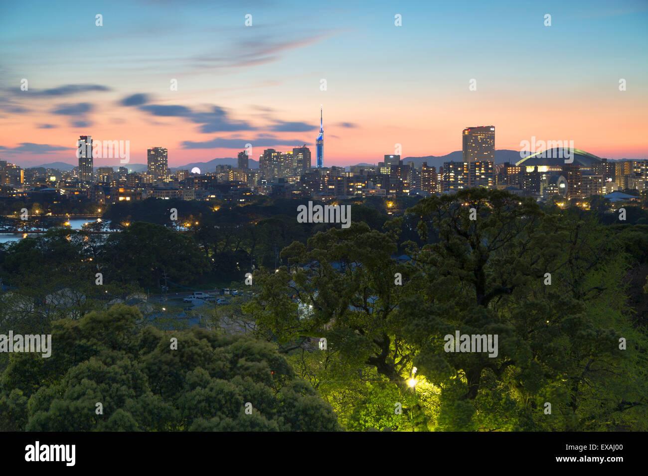 Coastal area skyline at sunset, Fukuoka, Kyushu, Japan, Asia Stock Photo