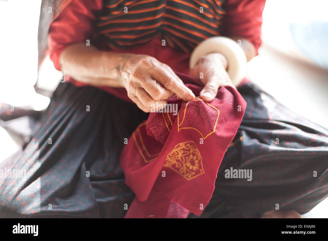 Aahir tribeswoman embroidering intricate traditional patterns in very fine chain stitch, Bhuj district, Gujarat, - Stock Image