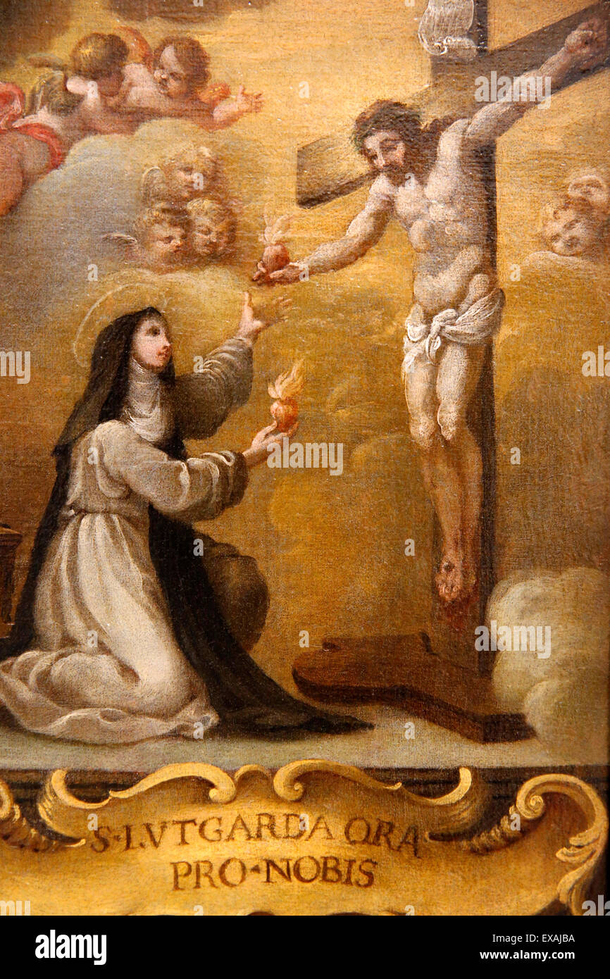 Jesus Christ and Lutgarde de Tongres exchanging hearts, Hieron Museum, Paray-Le-Monial, Saone-et-Loire, Burgundy, - Stock Image