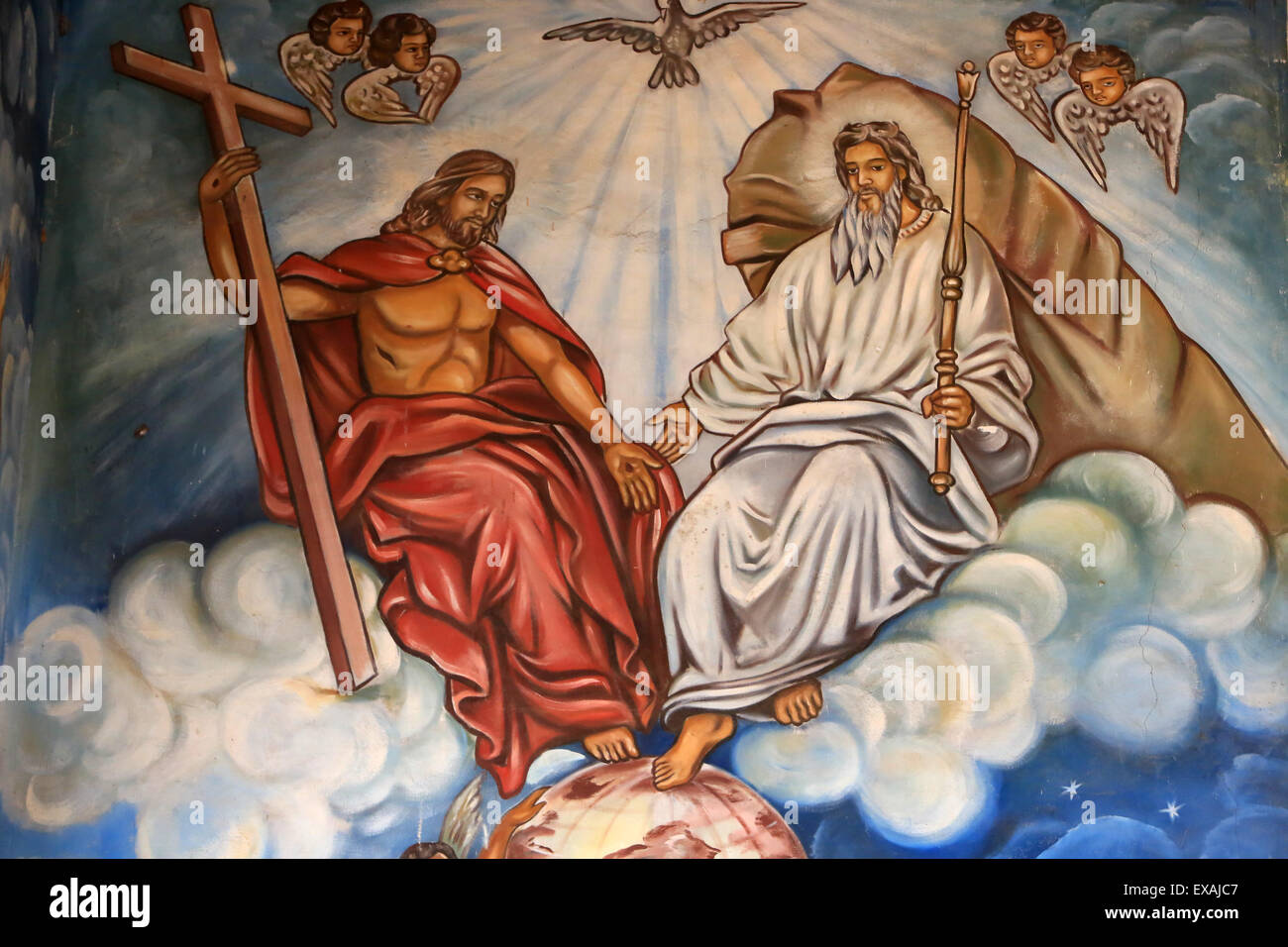 Holy Trinity of the Father, the Son and the Holy Spirit. St. Peter and Paul Cathedral, Aneho, Togo, West Africa, - Stock Image