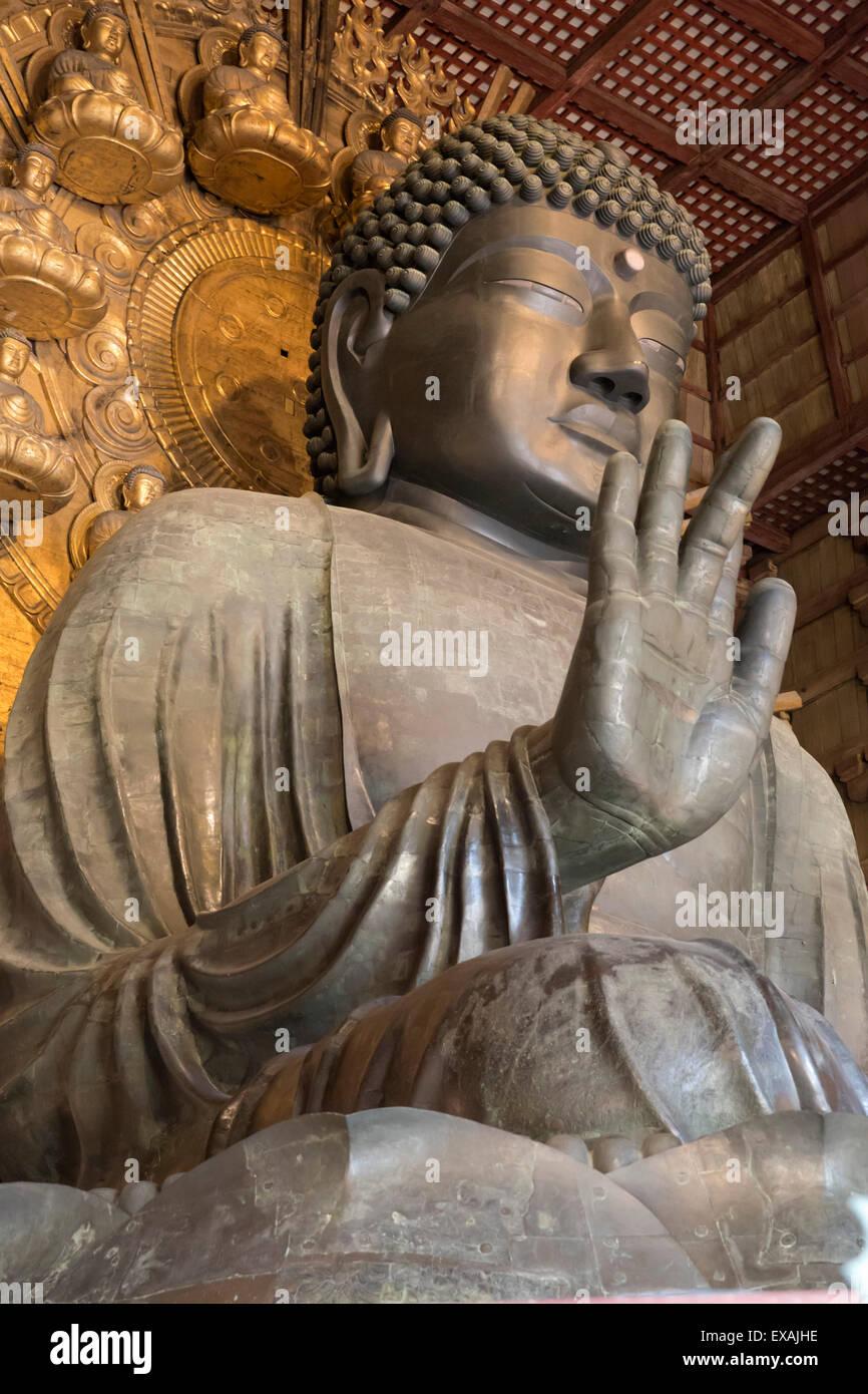 Daibutsu (Great Buddha) (Vairocana) inside the Daibutsu-den Hall of the Buddhist Temple of Todai-ji, Nara, UNESCO, - Stock Image