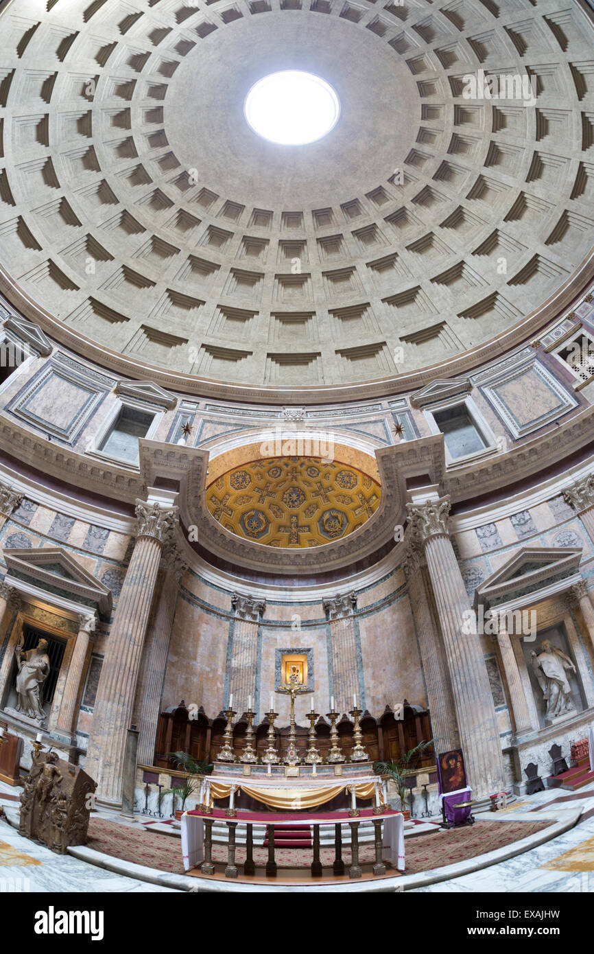 Interior church of St. Mary of the Martyrs and cupola inside the Pantheon, UNESCO Site, Piazza della Rotonda, Rome, - Stock Image