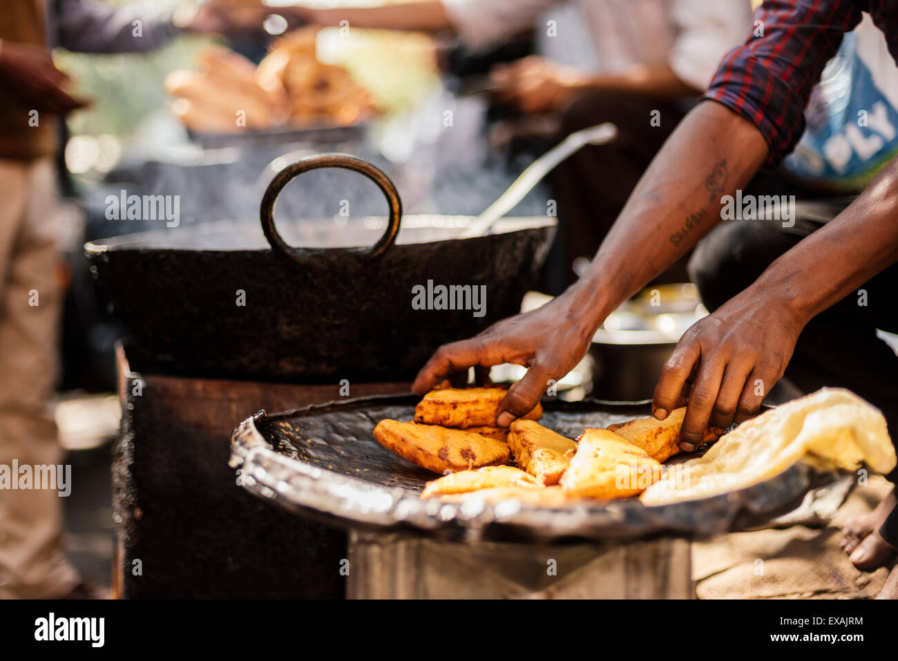 Chole Bhature Stall , Sector 7, Chandigarh, Punjab and Haryana Provinces, India, Asia - Stock Image