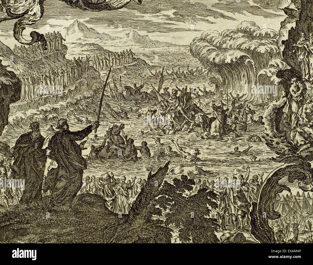 Parting of the waters of the Red Sea. Book of Exodus. Chapter 15, verse 1. Engraving. - Stock Image