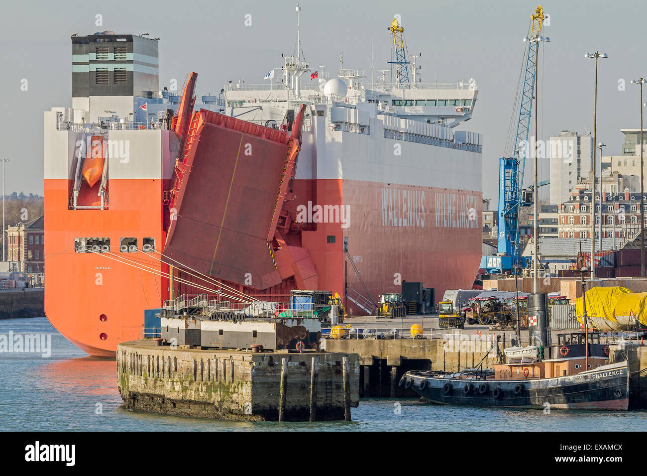 Carrier Loading Vehicles For Export Southampton UK - Stock Image