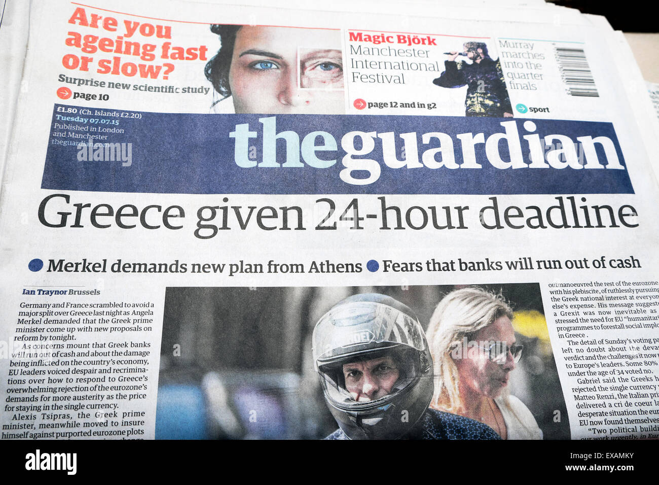 Greece Given 24-Hour Deadline Greek Debt Crisis Guardian newspaper headline 7th July 2015  London UK - Stock Image