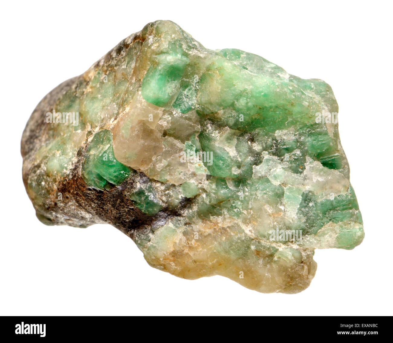 Rough uncut Emerald - Stock Image